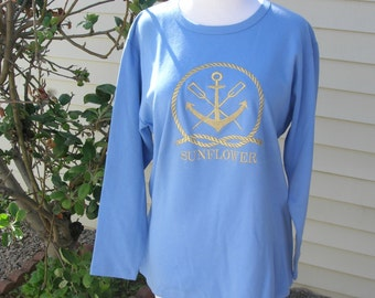 Anchors Away! Cornflower Blue T-Shirt, 3/4 sleeves, gold embroidering, great for sailors, sz L, 100% cotton, purchased on a cruise ship