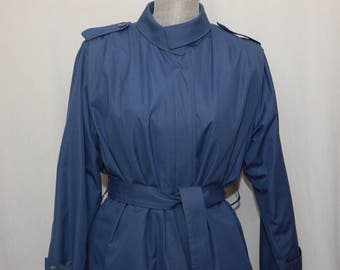 Womens Coat Size 10 London Fog Blue Trench Rain Coat Year Round with Removable Lining free shipping