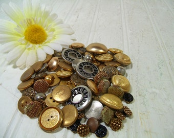 Vintage Variety of Brass & Silver Metal Buttons Collection - 63 Buttons for Repurposing Upscaling Upcycling - Old Used Multipurpose Buttons