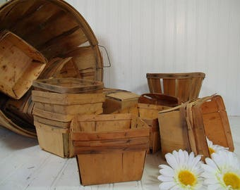 Vintage Aged Wood Berry Baskets - Farm House Fresh Finds for Storage - Rustic Organizer Bins Collection Wedding Flower Basket - 6 Available