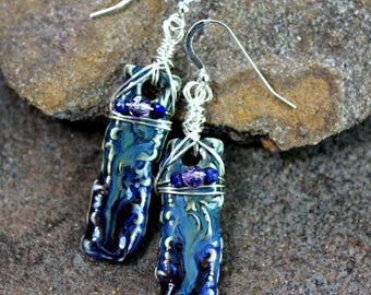 Porcelain Earrings with Amethyst & Lapis Lazuli, Sterling Silver Wire Wrapped, Handcrafted, Unique, Blue, Purple, Womens Gift, Ceramic