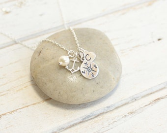 Sterling Silver Compass, Anchor, Initial Charm Cluster Necklace... You Choose the Birthstone and Initial