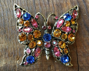 Vintage multi color rhinestone butterfly brooch