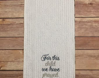 Burp Cloth, Embroidered: For This Child..., Blue & Gray, Baby Gift, Infant Gift, Welcome Home Baby, Baby Shower Gift, Ready to Ship