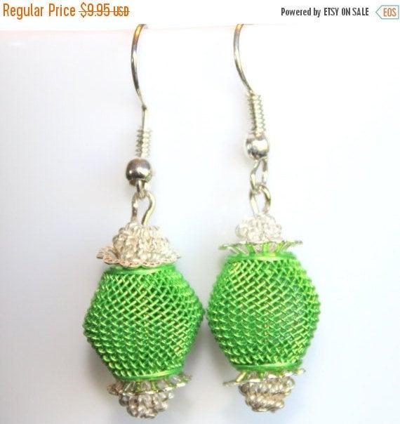 Lime Green Earrings,Dangle Earrings,Lime Green and Silver Jewelry,.925 Sterling Silver Earrings,One of a Kind Earrings,For Sensitive Ears