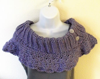 Buttoned Cowl with Collar - Rib Knit Cowl - Violet Sparkle