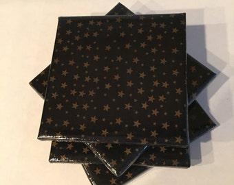 Black and gold stars Ceramic Coasters