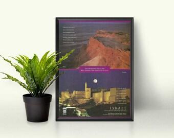 Israel Home Decor • International Travel Poster • DIY Frameable Decor • Middle East Advertising • 90s Travel Ad • Jerusalem Tourism Page