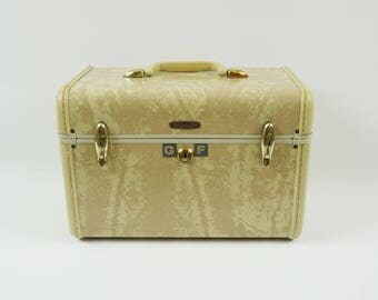 Vintage cosmetic case, Samsonite suitcase luggage, Vintage train case, Small suitecase carry on