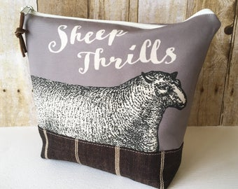 Sheep Thrills Knitting Project Bag, Taupe
