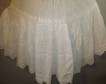"Vintage 1900's Victorian Slip //  Petticoat, Ruching, White on White Embroidery,  Back Train...23"" waist"
