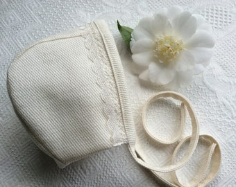 Bonnet, Baby Bonnet, Easter Bonnet, Christening Bonnet, Gender Neutral Bonnet, Ivory Bonnet, Cotton Bonnet