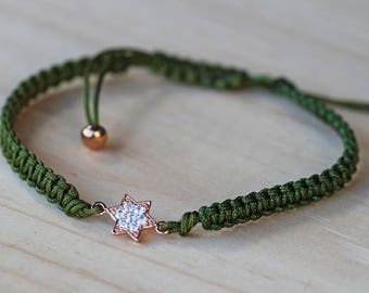 Rose Gold Crystal Star Adjustable Bracelet