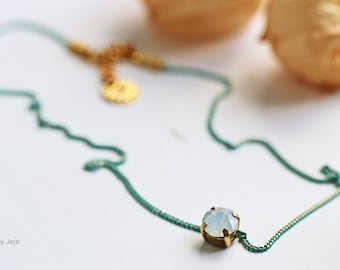 Swarovski Crystal & Mint Green Electroplated Chain Choker Necklace
