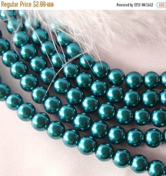 SALE 8mm TEAL Glass Pearls  50 beads  bgl0862