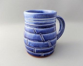 Blue Coffee Mug - Large Pottery- Glazed Terracotta