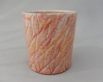 Kitchen Utensil Holder - Ceramic Crock - Peach Colored Pottery