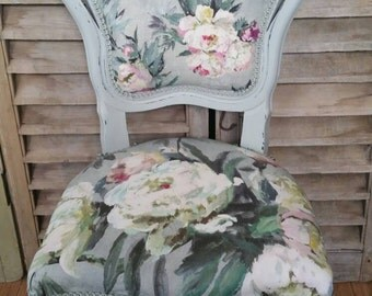 Designers Guild  boudoir chair in Brera Fabric, Floreale in zinc