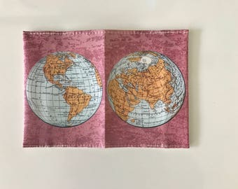 World Map Passport Cover - Passport case with a print of an ancient map of the world - Pink background