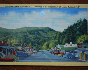 Vintage Linen Postcard - North Carolina -  - Cherokee  - 1950's - Scenic  - Great Smoky Mountains - Midcentury Souvenir - American Road