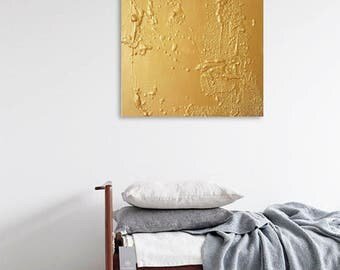 "Original abstract gold painting ""Keiko"" 15,7 in /15,7 in Minimalist art"