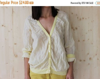 SALE Vintage 80s Yellow sheer sweater cotton cardigan/top