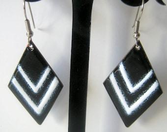 Vintage Black and White Triangle Enamel Dangle Earrings