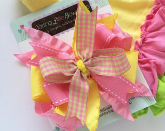 "Pineapple hairbow, Lemonade bow, yellow and pink layered hairbow-- layered bow in 4-5"" size"