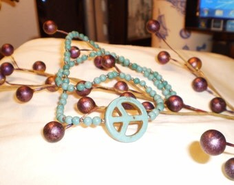 Handmade Peace Sign Necklace Turquoise Looking Magnesite Funky, OOAK, Jewelry, Victorian, Bohemian,Shabby Chic,