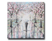ORIGINAL LARGE Art Abstract Painting Couple With Umbrella Cherry Trees Oil Painting Wall Art Home Decor TEXTURE Rain Pink xl 36x36 Christine