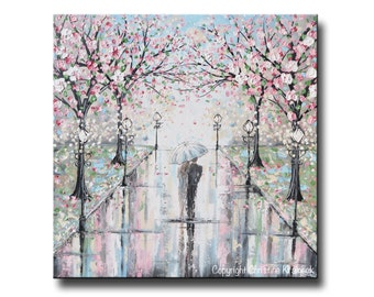 GICLEE PRINT Art Abstract Painting Couple With Umbrella Cherry Trees Oil Painting Wall Art Home Decor Walk in Rain Romantic Pink Christine