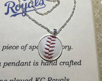 Played game ball pendant necklace sterling silver Washington Nationals memory keeper personalized baseball gift