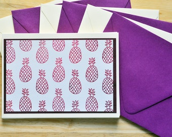Pineapple Note Cards // Set of 6 // Blank Cards // Tropical Stationary // Thank You Cards // Just Because // A2