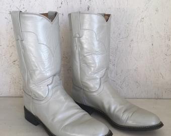 Vintage Pearlized Light Gray Tony Lama Roper Boots Size 6 1/2 B
