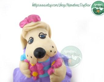 Violet Pound Puppy Figure PVC Toy: Vintage 80s