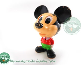 Vintage Mickey Mouse Pull String Toy: Chatter Chums 1970s Disney