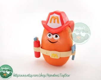 McDonalds McNugget Buddy Sparky 1980s Toy Complete Firefighter
