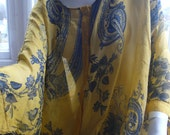 Italian yellow silk print top one size fits all