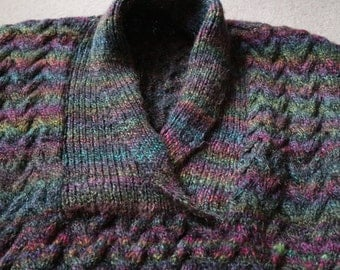 SALE Chunky oilslick colours sweater in wool acrylic yarn handknitted M / L