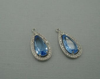 Blue Topaz Teardrop  Cubic Zirconia CZ Rhodium Plated Pendant Charm Findings Jewelry Supply.