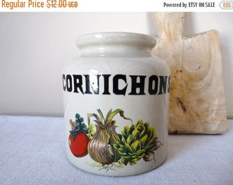 ON SALE for a week French vintage Stoneware Gherkin Pot for french kitchen french Gherkin french pickle