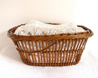 Charming French Vintage Wicker Basket  - French Linen Room -  French Countryside - Storage Organization - Laundry Basket