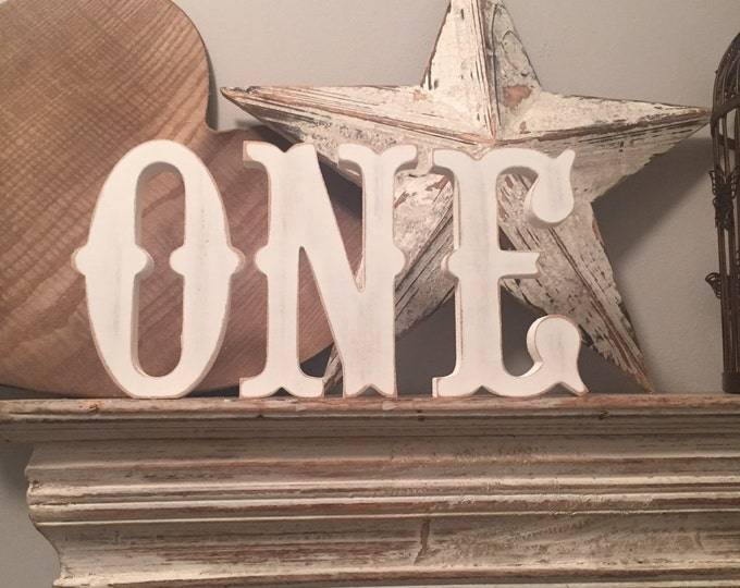 Featured listing image: Freestanding Wooden Letters, Set of 3 - 15cm - Western Style Font, Carnival, ONE, various colours and finishes available