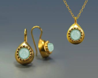 24K Gold Plated Teardrop Aquamarine Gemstone Earring necklace set, Blue Gold Jewelry, jewellery set, israel jewelry, Handmade gift for woman