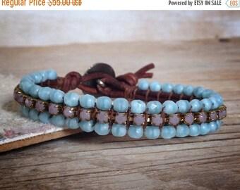 ON SALE Boho Chic Bracelet - Bohemian Jewelry - Boho Hippie - Rhinestone Leather Bracelet - blue boho jewelry - handmade unique jewelry