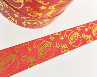 Christmas Red Washi Bright Red Washi With Gold Foil Santa and Stars Gold Foil Washi Tape 11 yards 10 meters 15mm