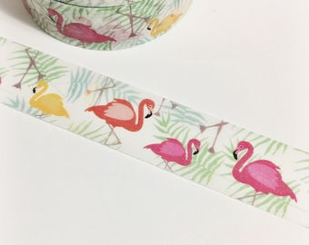 Palm Fronds and Flamingos Yellow Flamingo Pink Flamingo Washi Tape 11 yards 10 meters 15mm