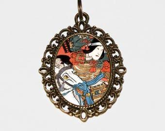 Samurai Necklace, Ukiyo-e, Horse, Japanese Woodblock Art, Utagawa Kuniyoshi, Warrior, Bronze Oval Pendant