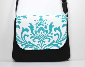 Medium Crossbody Bag Shoulder Purse Sling Bag Hobo Bag Cross Body Bag - Turquoise and White Damask and Black Crossbody Bag - Ready to Ship