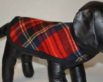 Red Tartan Wool Dog Coat - size xs to small  handmade of red plaid Pendleton fabric unique adjustable dog coat plaid dog coat warm dog coat